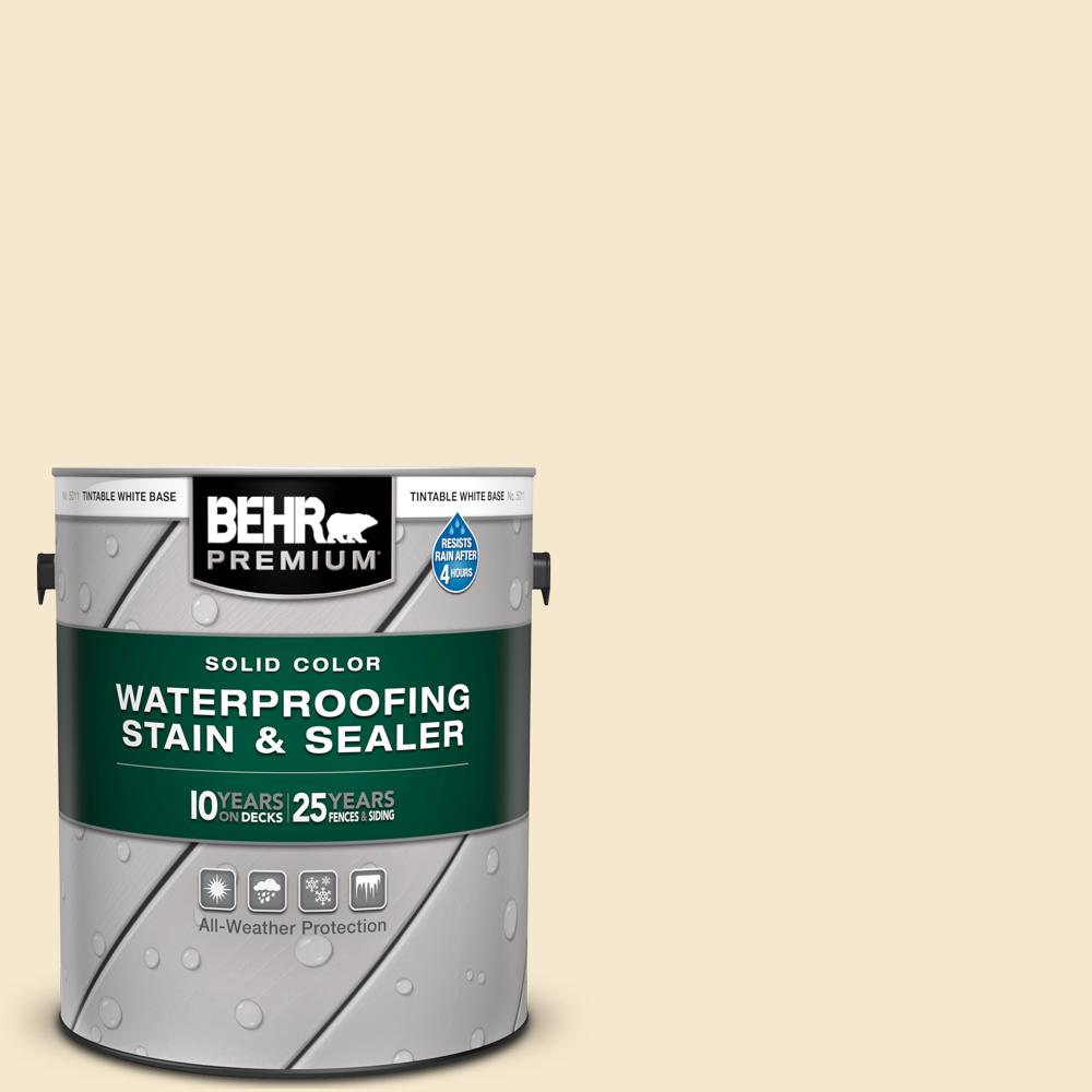 BEHR PREMIUM 1 gal. White Base Solid Color Waterproofing Exterior Wood Stain and Sealer