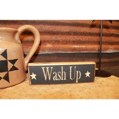 Wash Up Decorative Wood Sign Black