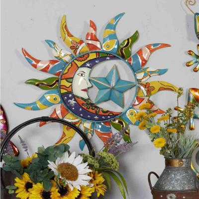 Iron Multicolored Celestial Sun, Moon, and Star Metal Work