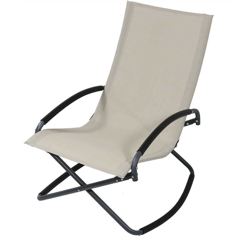 7c0817e5d09 Sunnydaze Decor Beige Folding Steel Outdoor Lounge Chair-JON-084 ...