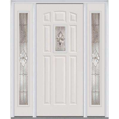 heirloom master deco glass 14 lite painted majestic steel prehung front door with sidelites