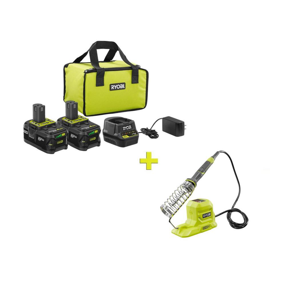 RYOBI 18-Volt ONE+ High Capacity 4.0 Ah Battery (2-Pack) Starter Kit with Charger and Bag w/BONUS ONE+ Soldering Iron was $128.97 now $99.0 (23.0% off)