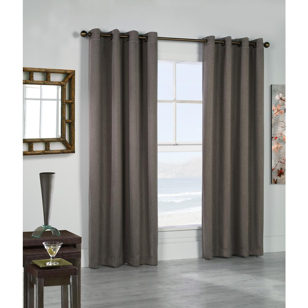 Belize Taupe - 104 in. x 84 in. Grommet Panel Woven Blackout with Silver Clear Finish