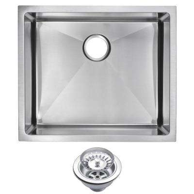 Undermount Small Radius Stainless Steel 23.in 0-Hole Single Bowl Kitchen Sink with Strainer in Satin Finish