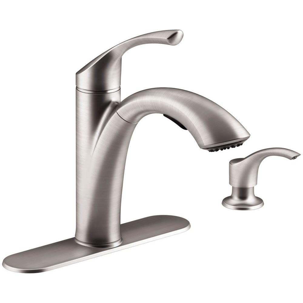 KOHLER Mistos Single-Handle Pull-Out Sprayer Kitchen Faucet In Stainless  Steel