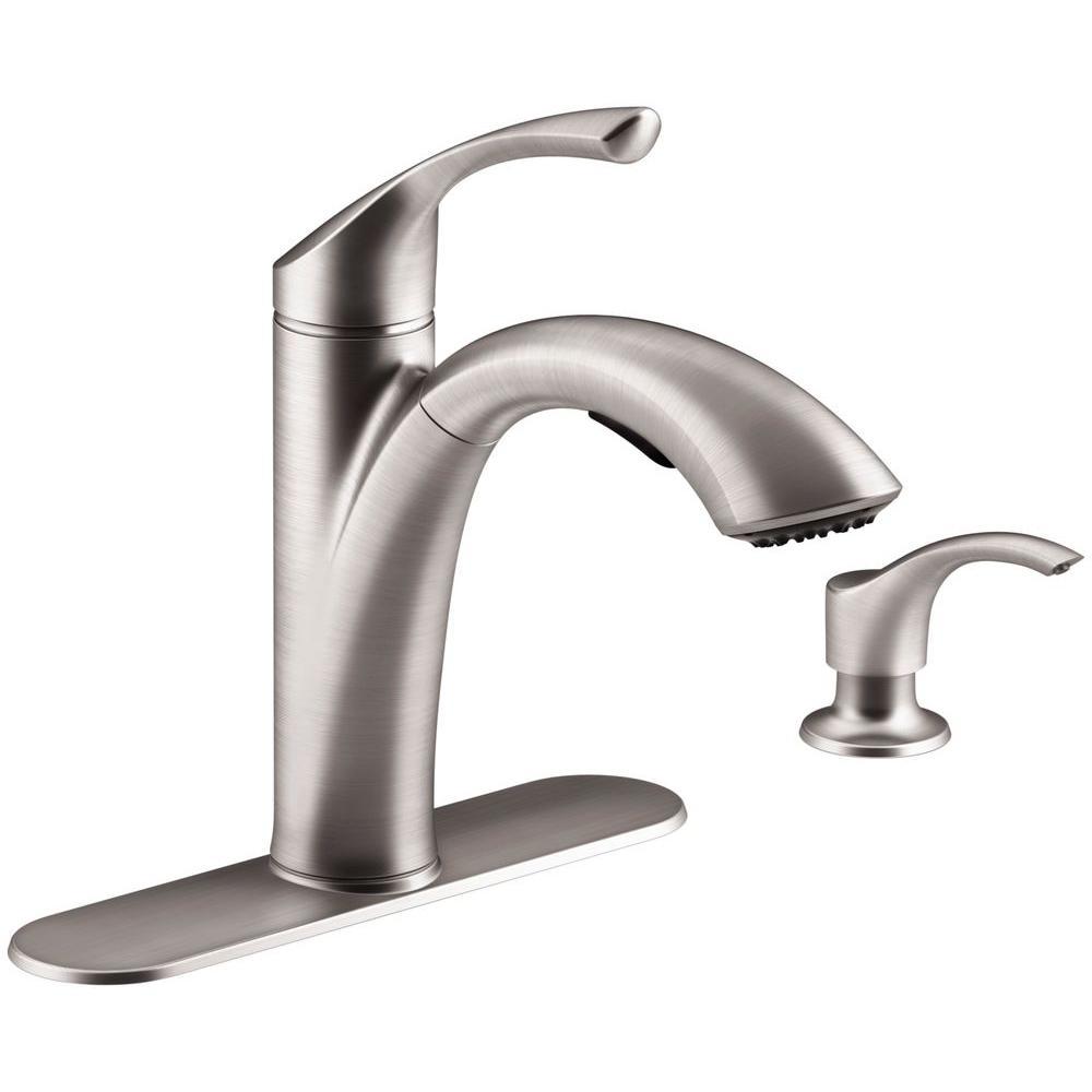 Kohler Mistos Single Handle Standard Kitchen Faucet With Side Sprayer In Stainless Steel K R72508 Vs The Home Depot