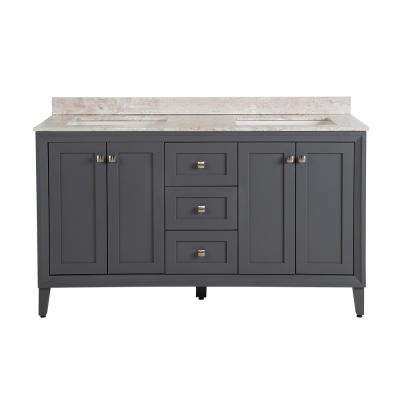 Austell 61 in. W x 22 in. D Vanity in Graphite Gray with Stone Effects Vanity Top in Winter Mist with White Basin