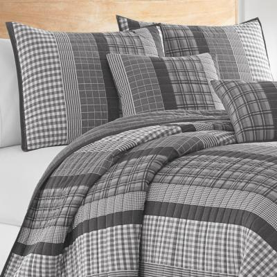 Gulf Shores 3-Piece Grey Cotton King Quilt Set