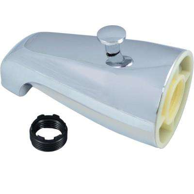 """Tub Spout with Back Diverter in Chrome Finish - Fits 1/2"""" and 3/4"""" Iron Pipe Connections"""
