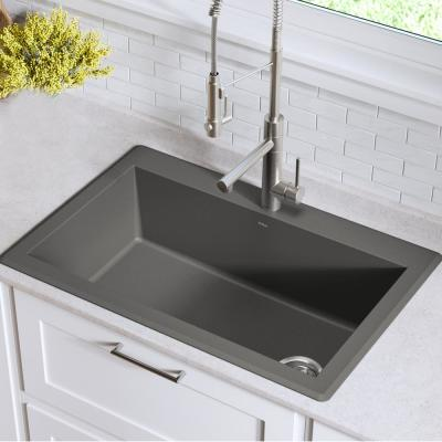 Forteza All-in-One Drop-In/Undermount Granite Composite 33 in. 1-Hole Single Bowl Kitchen Sink in Grey