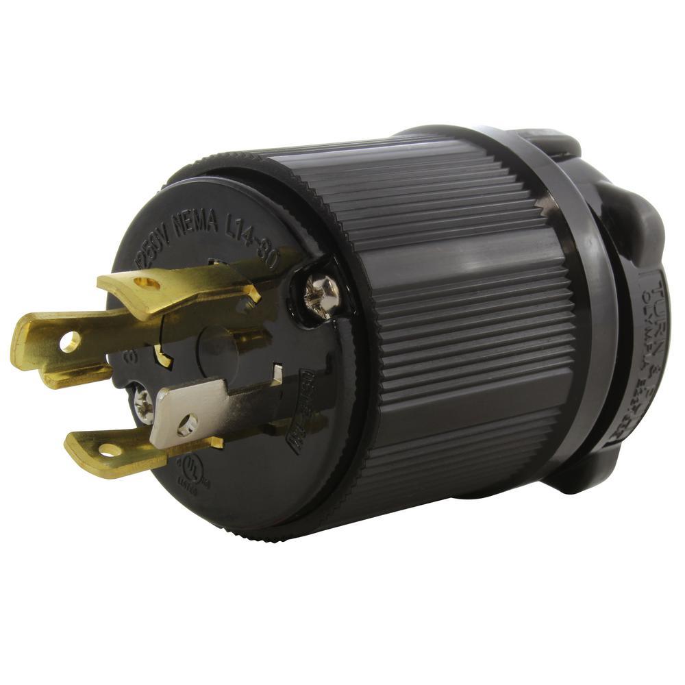125V Volt UL Approved Black New 30Amp L14-30 Locking Male Plug
