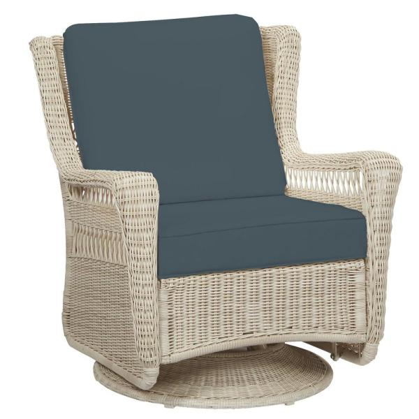 Park Meadows Off-White Wicker Outdoor Patio Swivel Rocking Lounge Chair with Sunbrella Denim Blue Cushions