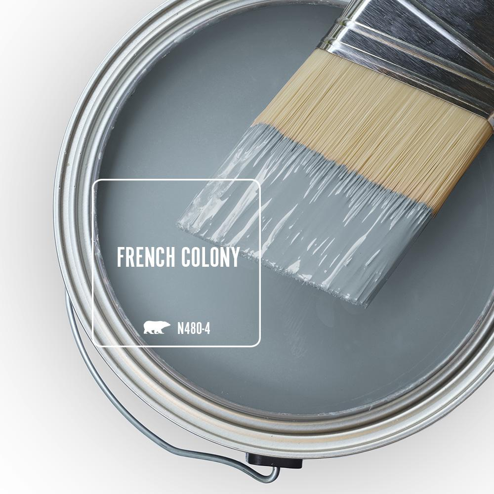 Behr French Colony is a glorious grey blue paint color to try. #behrfrenchcolony #bluegray #paintcolors