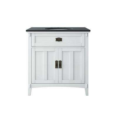 Artisan 33 in. W Vanity in White with Marble Vanity Top in Natural Black with White Sink