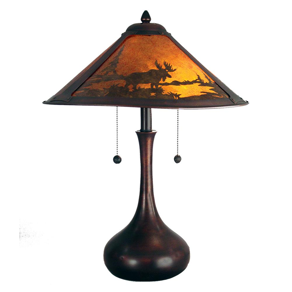 Dale Tiffany 22 In Antique Bronze Wilderness Table Lamp With Mica