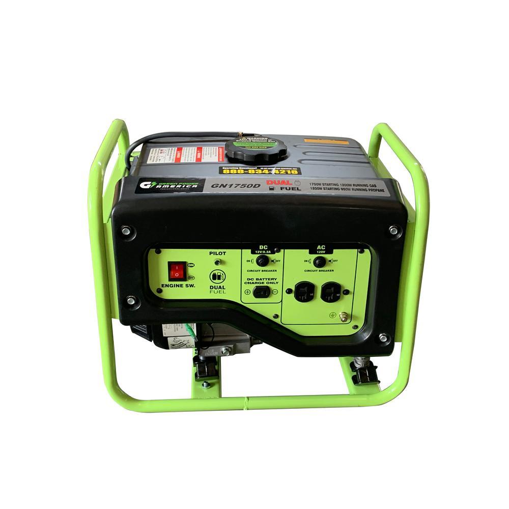 1750-Watt/1200-Watt Dual Fuel Gas/Propane Powered Portable Generator with 98 cc LCT Professional Engine, CARB Compliant