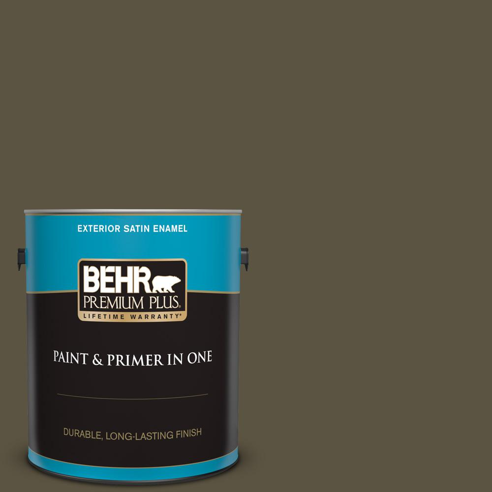 Reviews For Behr Premium Plus 1 Gal 760d 7 Moosewood Satin Enamel Exterior Paint And Primer In One 934001 The Home Depot
