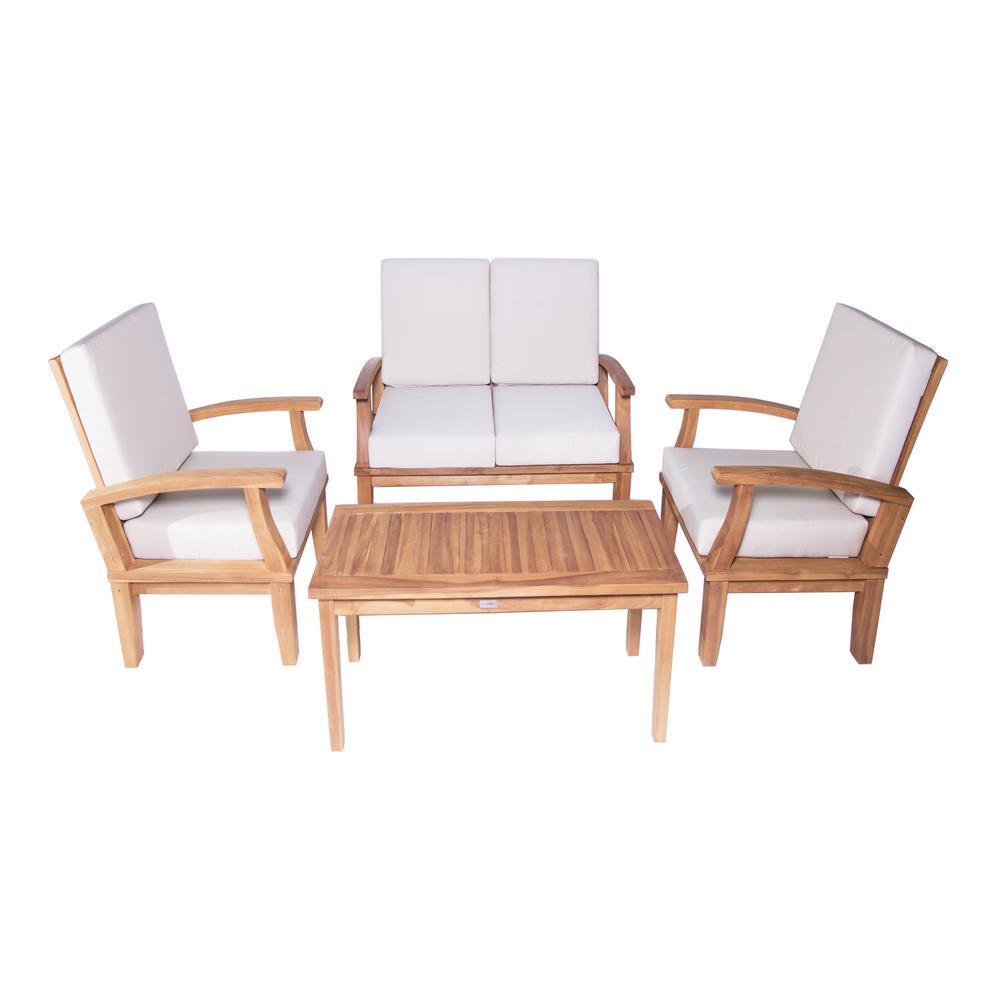 Venice 4-Piece Teak Deep Seating Conversation Set with Beige Cushions