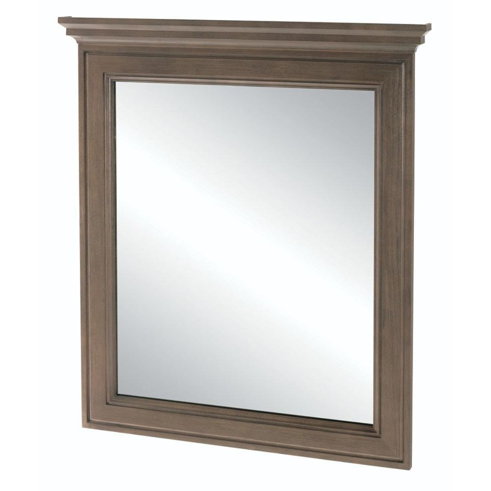 Home decorators collection albright 30 in x 34 in framed bath vanity wall mirror in winter - Home decor wall mirrors collection ...