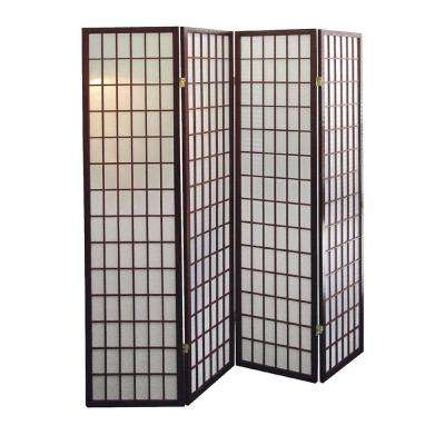 5.83 ft. Cherry 4-Panel Room Divider