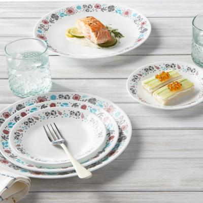 16-Piece Casual Nordic Blooms Glass Dinnerware Set (Service for 4)