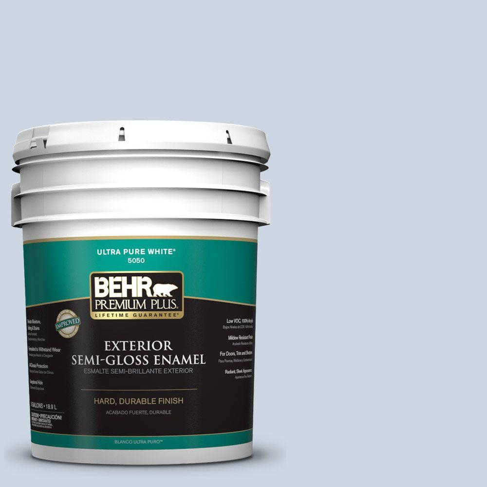 BEHR Premium Plus 5-gal. #ICC-35 Blue Reflection Semi-Gloss Enamel Exterior Paint