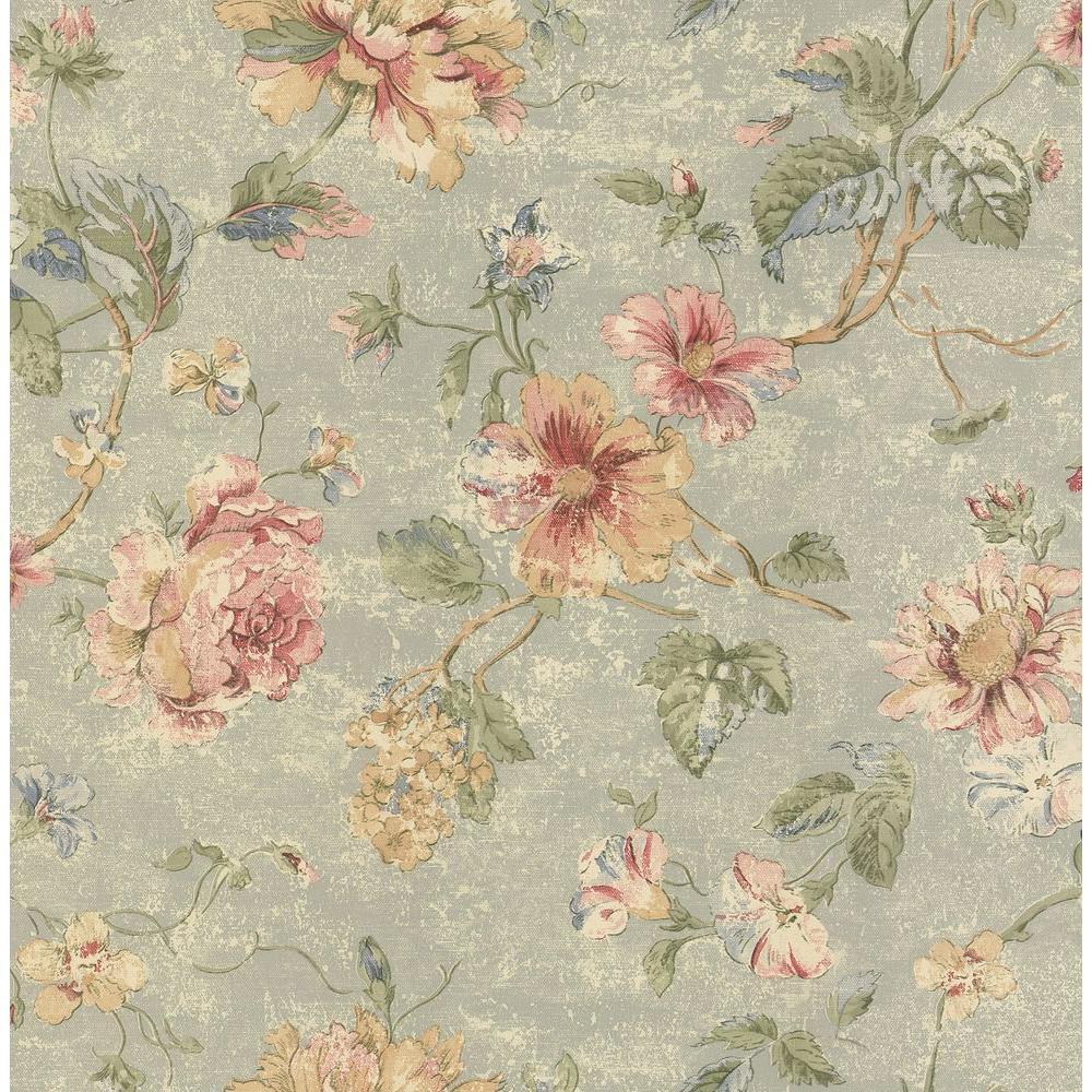 Brewster Madison Blue Rose Floral Wallpaper Sample