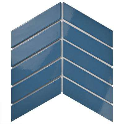 Metro Soho Chevron Cerulean 1-3/4 in. x 7 in. Porcelain Floor and Wall Tile (1 sq. ft. / pack)