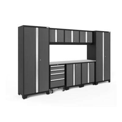 Bold 3.0 77.25 in. H x 132 in. W x 18 in. D 24-Gauge Welded Steel Garage Cabinet Set in Gray (9-Piece)