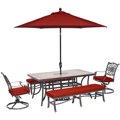 Monaco 5-Piece Aluminum Outdoor Dining Set with Red Cushions and Umbrella