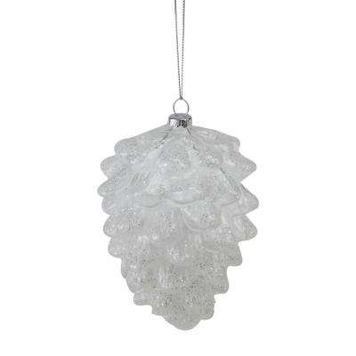 Clear Snow Dusted Glass Pine Cone Christmas Ornament
