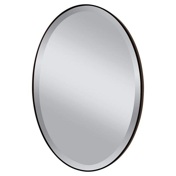 Medium Oval Oil Rubbed Bronze Beveled Glass Classic Mirror (36.375 in. H x 24.375 in. W)
