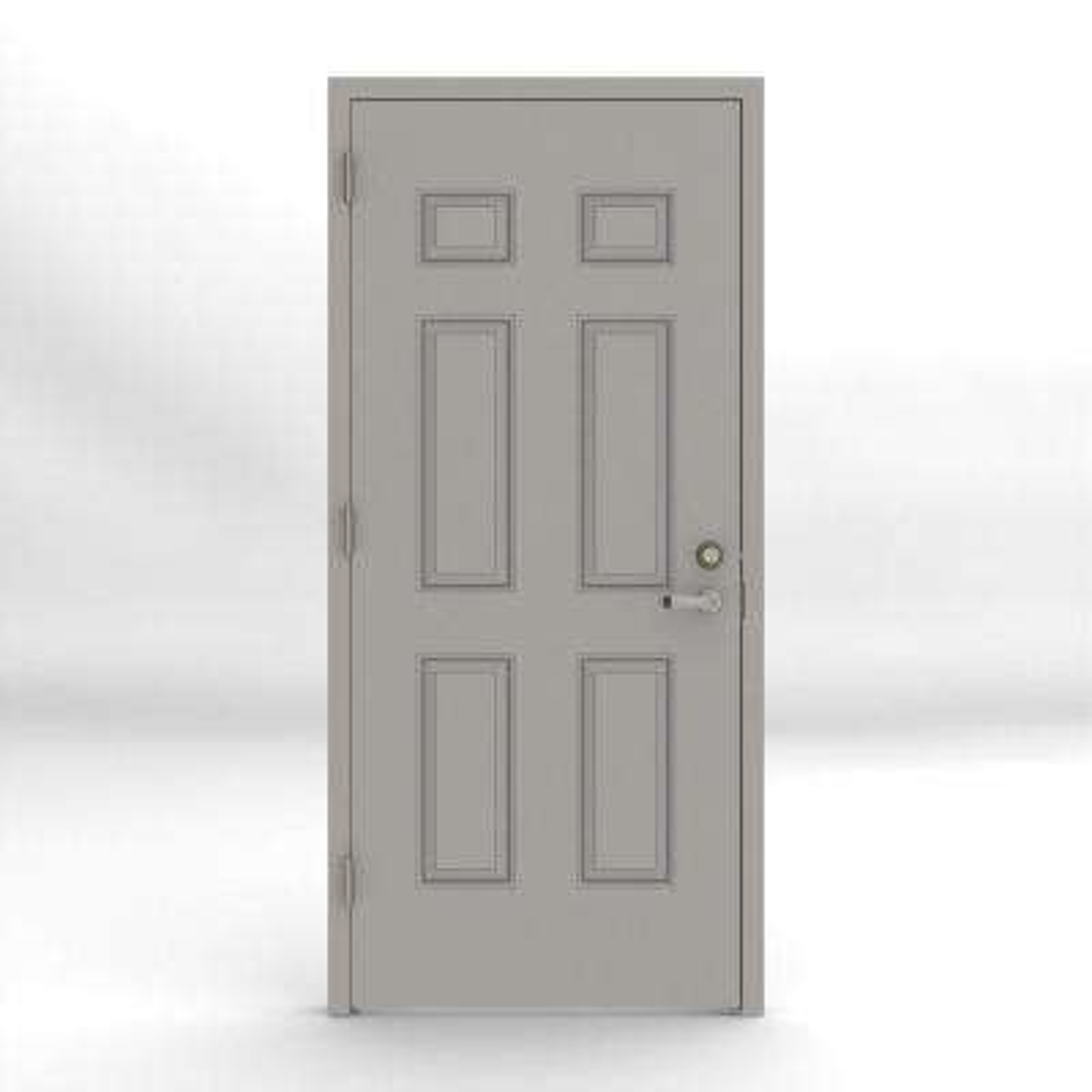 Gray 6-Panel Security Steel Prehung Commercial Door with Welded Frame