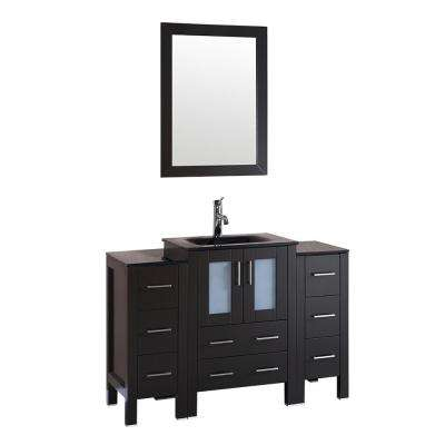48 in. W Single Bath Vanity with Glass Vanity Top in Espresso with Black Basin and Mirror