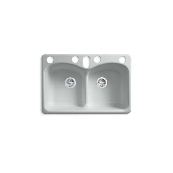 Kohler Langlade Smart Divide Undermount Cast Iron 33 In 6 Hole Double Bowl Kitchen Sink In Ice Grey K 6626 6u 95 The Home Depot