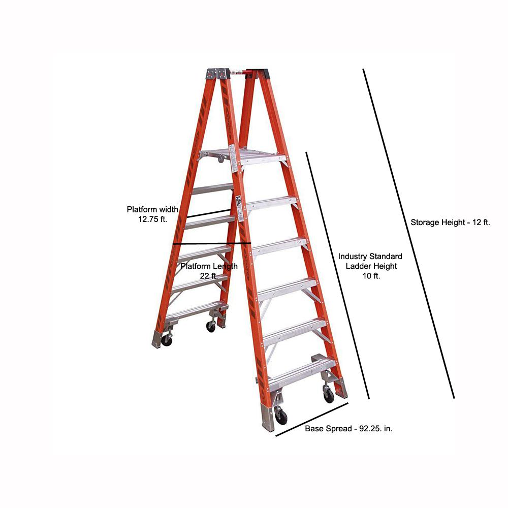 Werner 16 Ft Reach Fiberglass Platform Twin Step Ladder With Casters 300 Lb Load Capacity Type Ia Duty Rating Pt7410 4c The Home Depot