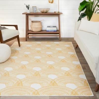 Madeline Abstract Striped Yellow 8 ft. x 10 ft. Area Rug