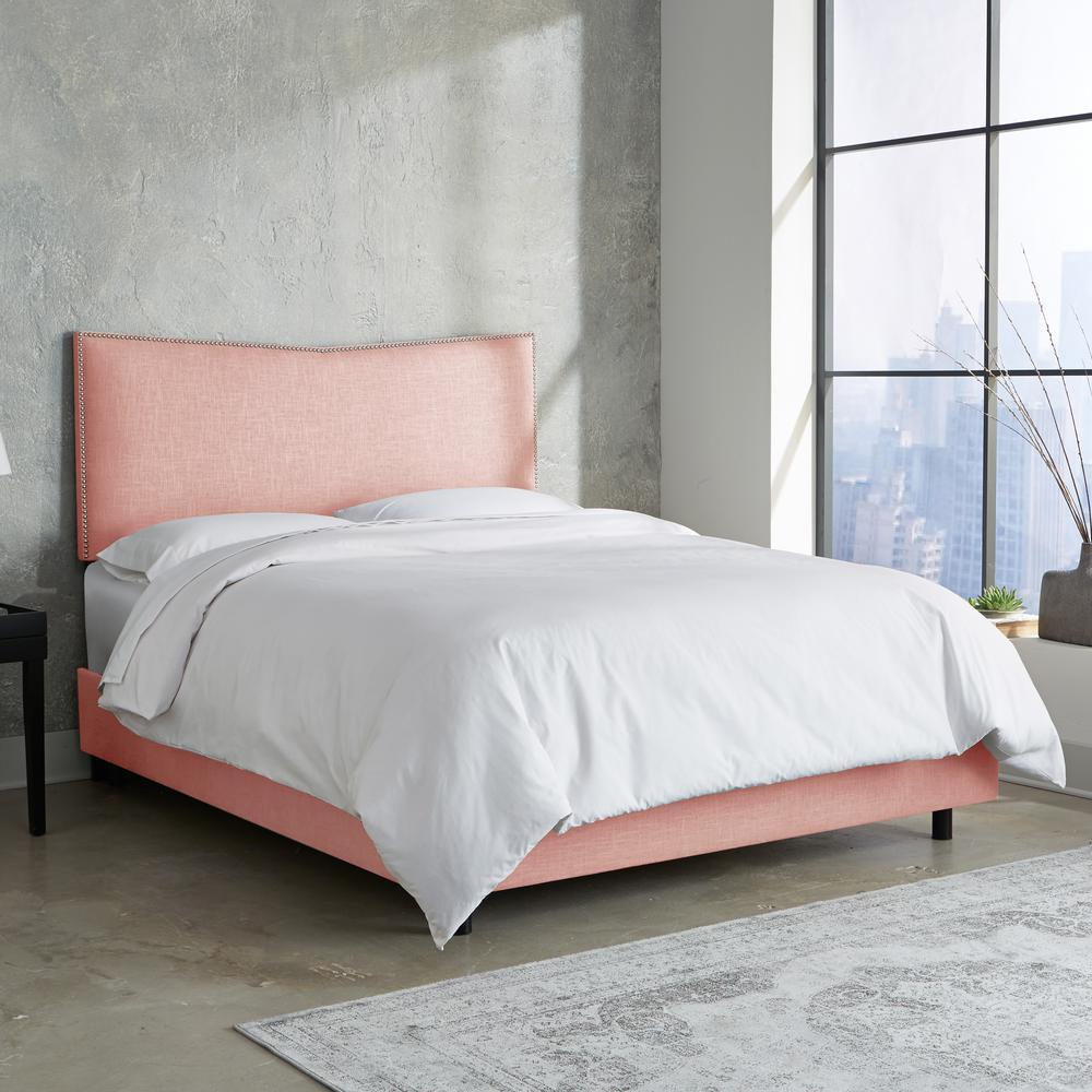 Linen Petal California King Nail Button Bed