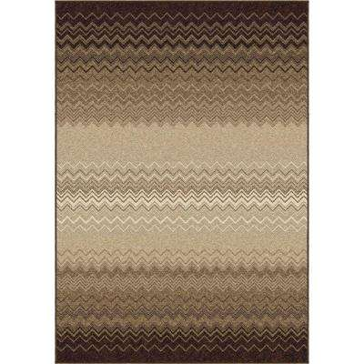 Waving Chevron Taupe 8 ft. x 11 ft. Indoor Area Rug