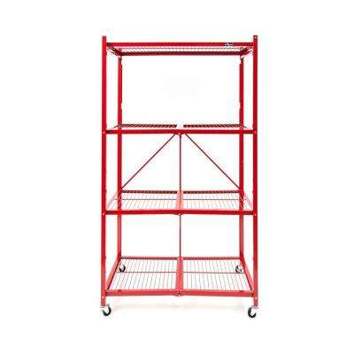 36 in. W x 60 in. H x 20 in D 4-Tier Red Steel Foldable Shelving Unit