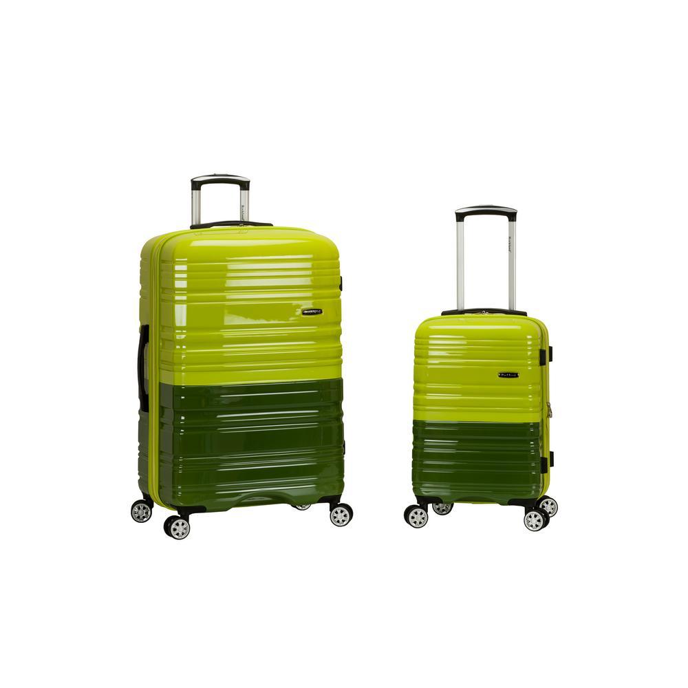2Tone Green Expandable 2-Piece Hardside Spinner Luggage Set