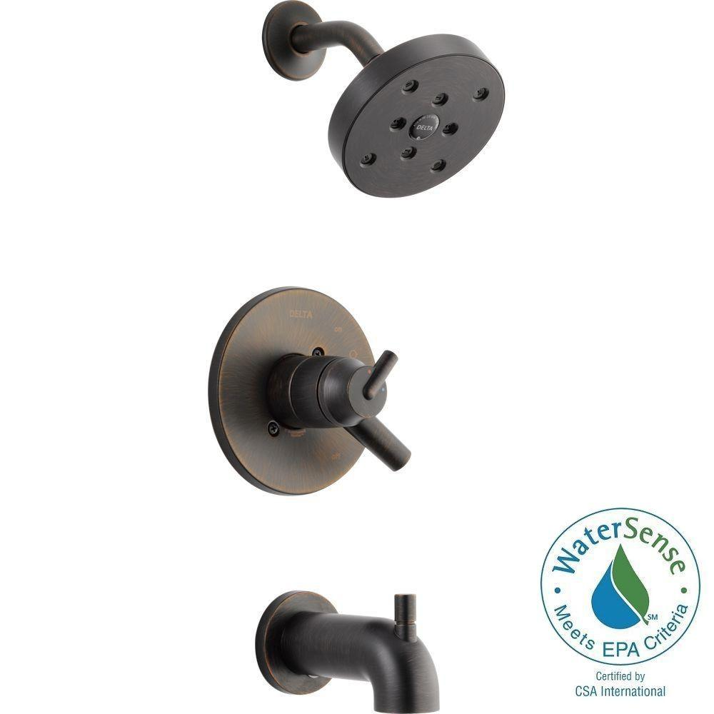 Delta Trinsic 1-Handle Wall Mount Tub and Shower Faucet Trim Kit in Venetian Bronze with H2Okinetic (Valve Not Included)