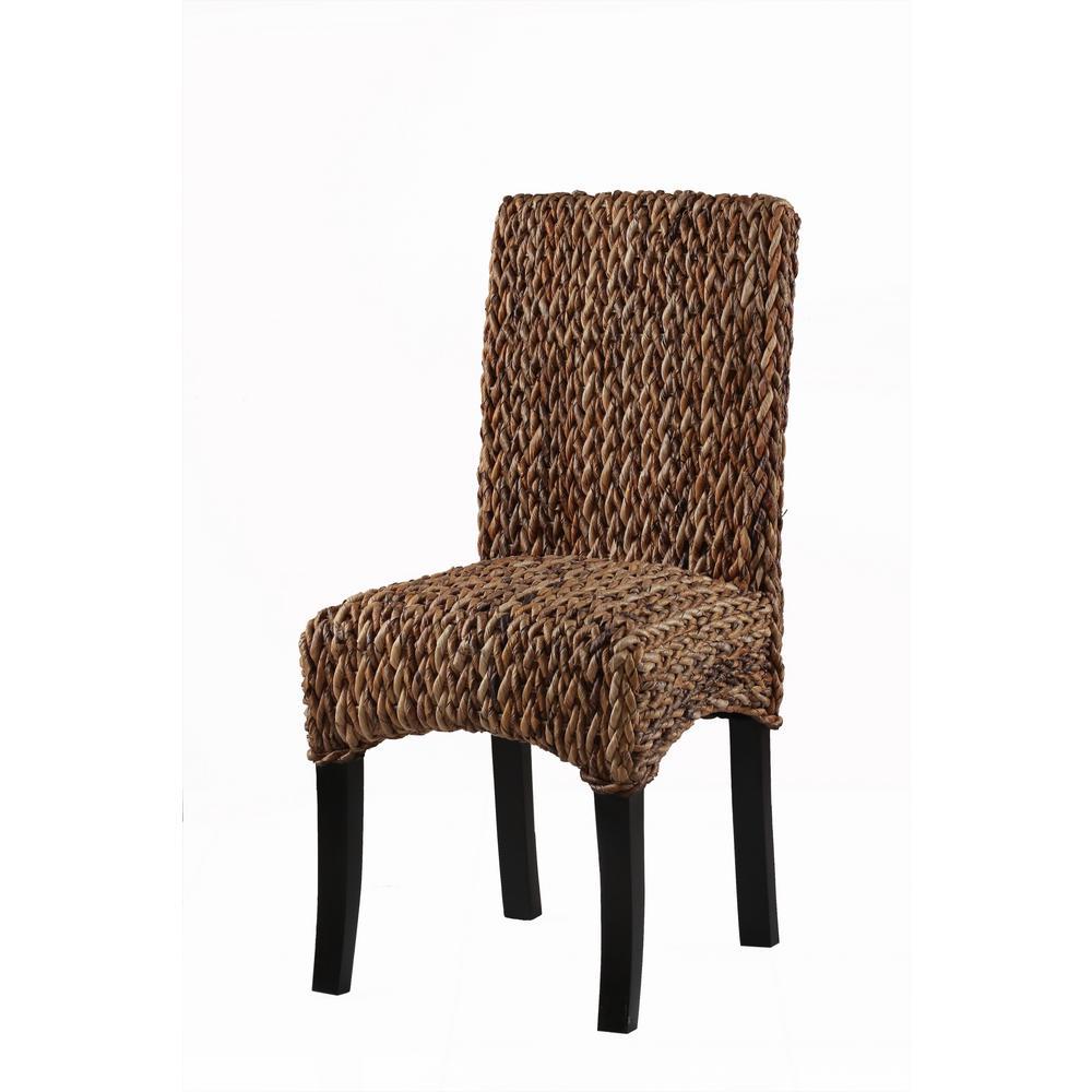 Kendari Brown Handwoven Banana Leaf Dining Chair (Set of 2)
