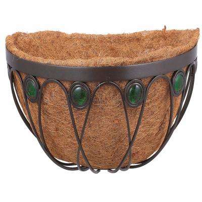 Emerald 20 in. Black Metal Coconut Wall Planter