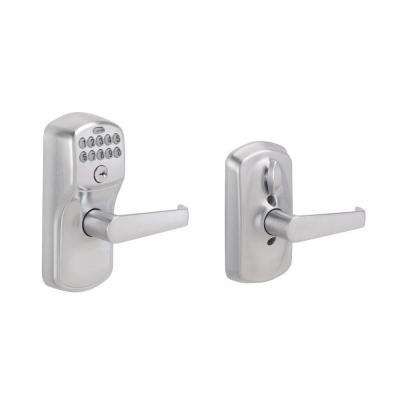 Elan Satin Chrome Keypad Electronic Door Lever with Plymouth Trim
