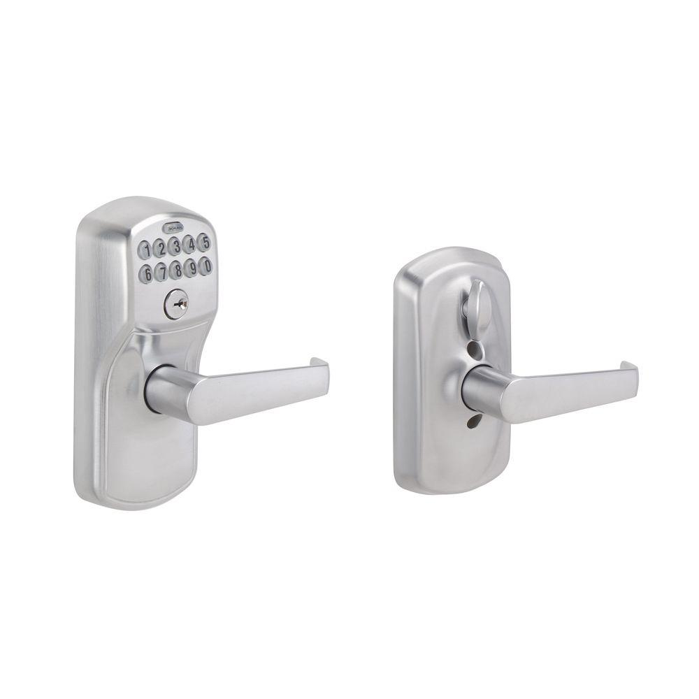Schlage Plymouth Satin Chrome Electronic Door Lock With Elan Door Lever Fe595cs Ply V Ela 626 The Home Depot