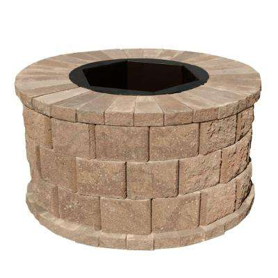 40 in. W x 22 in. H Rockwall Round Fire Pit Kit - Pecan