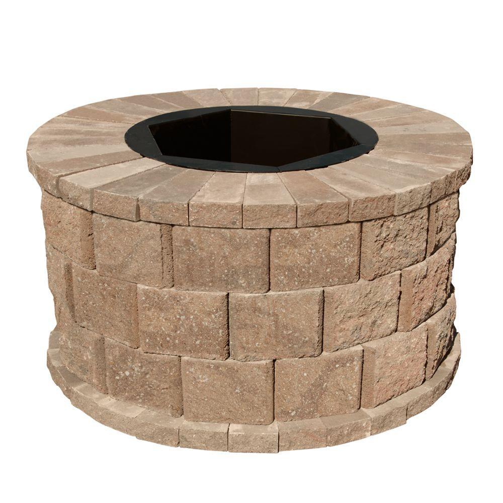 40 in. W x 22 in. H Rockwall Round Fire Pit Kit - Pecan