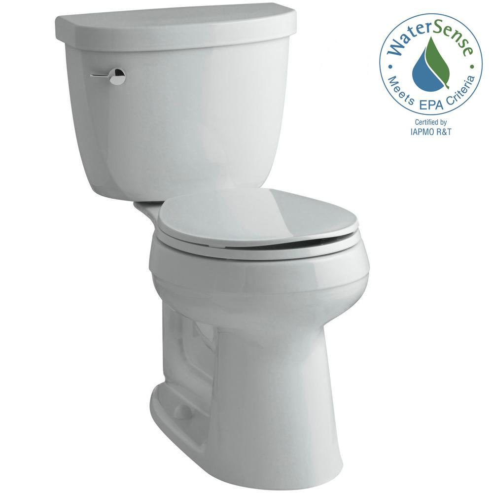 KOHLER Cimarron Comfort Height 2-piece 1.28 GPF Round Toilet with AquaPiston Flush Technology in Ice Grey