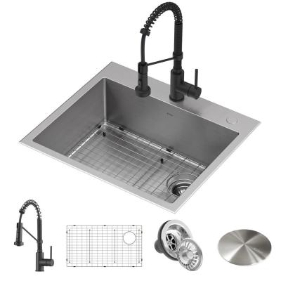 Loften All-in-One Dual Mount Drop-In Stainless Steel 25in. Single Bowl Kitchen Sink with Pull Down Faucet in Matte Black